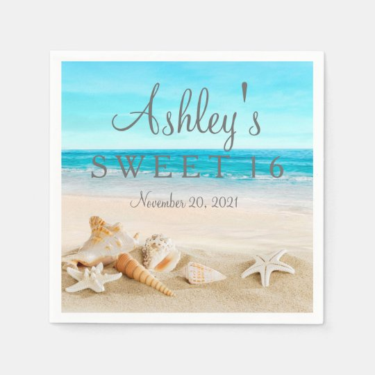 Starfish Beach Sweet 16 Personalized Napkin Paper Napkins
