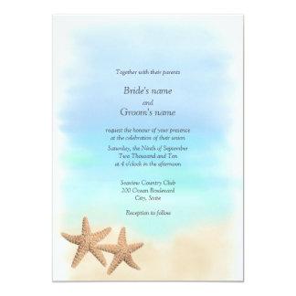 "Starfish Beach Theme Wedding Invitations 5"" X 7"" Invitation Card"