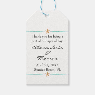 Starfish Beach themed Wedding Favor Tag Pack Of Gift Tags
