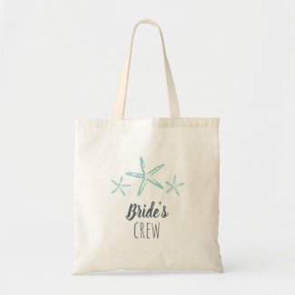 Starfish beach wedding Bride's Crew tote
