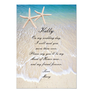 "Starfish Beach Wedding Maid Of Honor Card 5"" X 7"" Invitation Card"