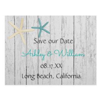 Starfish Beach Wedding Rustic Wood Save the Date Postcard
