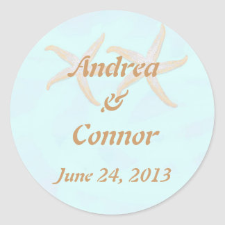 starfish beach wedding sticjker classic round sticker