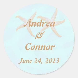 starfish beach wedding sticjker round sticker