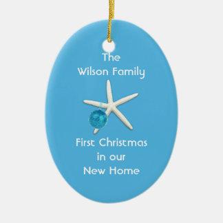 Starfish Blue First Christmas New Home Custom Ceramic Ornament