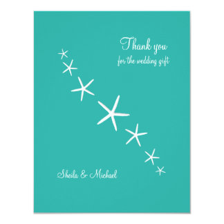 "Starfish Blue Lagoon Small Thank You Cards 4.25"" X 5.5"" Invitation Card"
