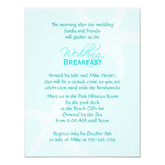 Starfish Blue Wedding Breakfast Card