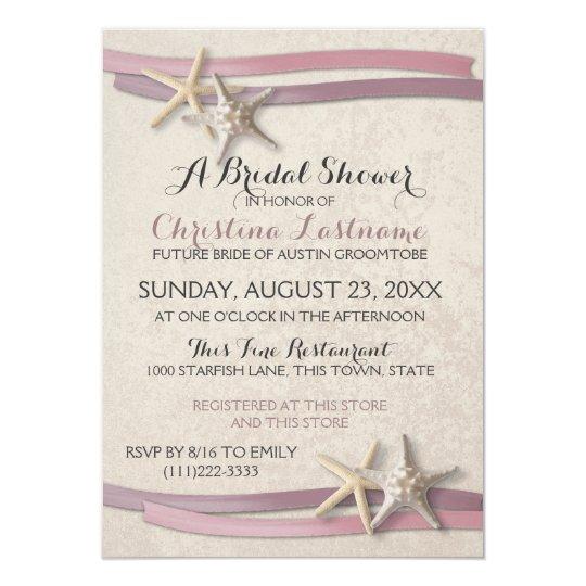 Starfish Blush Beach Bridal Shower Card