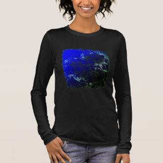 Starfish bubbles and flowers in tropical neon long sleeve T-Shirt
