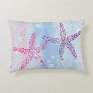 STARFISH & BUBBLES WATERCOLOR PASTEL Accent Pillow
