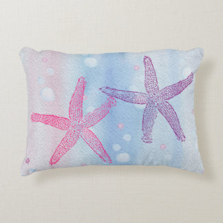 STARFISH & BUBBLES WATERCOLOR PASTEL Accent Pillow