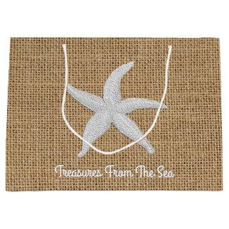Starfish Burlap Personalize Large Gift Bag