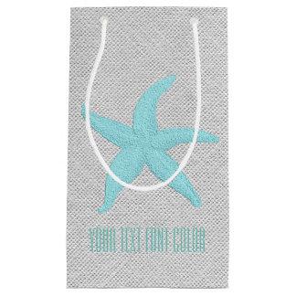 Starfish Burlap Personalize Small Gift Bag