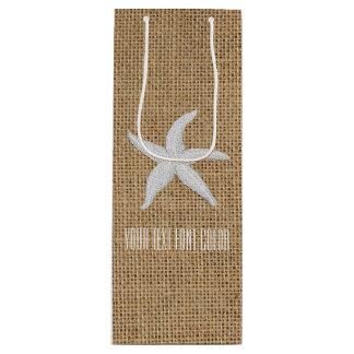 Starfish Burlap Personalize Wine Gift Bag