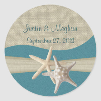 Starfish & Burlap Teal Beach Round Sticker