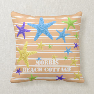 Starfish Coral Pinstripes Personalized Throw Pillow