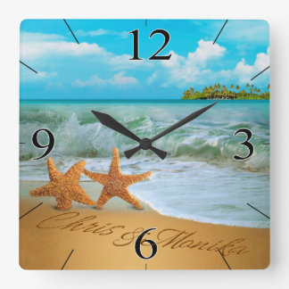Starfish Couple ASK ME TO PUT NAMES IN THE SAND Square Wall Clock