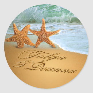 Starfish Couple ASK ME TO PUT NAMES IN THE SAND Round Sticker