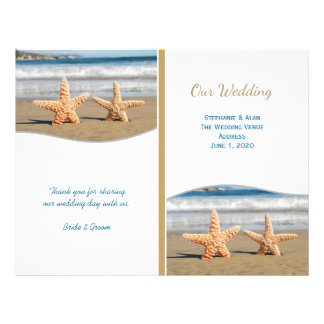 Starfish Couple Beach Wedding Programs Flyer