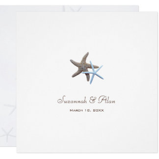 Starfish Couple Beach Wedding Square Invitations