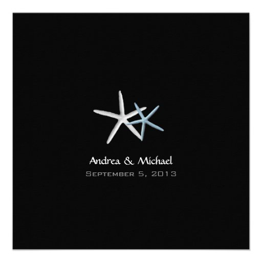 Starfish Couple Black Wedding Invitations