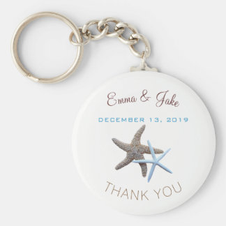 Starfish Couple Blue Thank You Key Ring Favour Basic Round Button Keychain