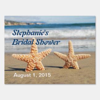 Starfish Couple Bridal Shower Yard Sign
