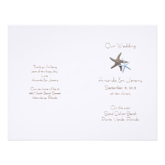 Starfish Couple Custom Wedding Program Cover Letterhead