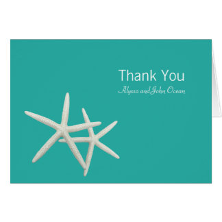 Starfish Couple Folded Wedding Thank You Note Card