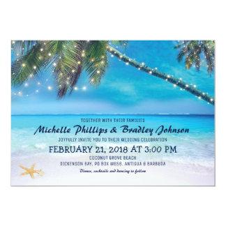 Starfish Couple Lights Beach Destination Wedding Card