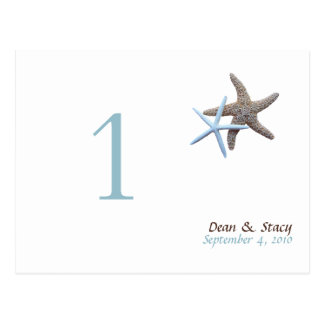 Starfish Couple Table Number Cards Postcard