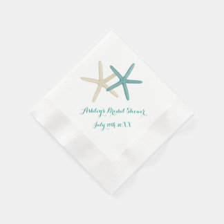 Starfish Couple Teal and White Cocktail Napkins Paper Napkin