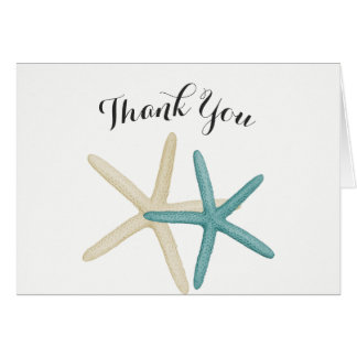 Starfish Couple Teal and White Thank You Card