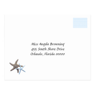 Starfish Couple Wedding Response Cards Postcard