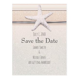 Starfish Creamy White Beach Wedding Save the Date Postcard