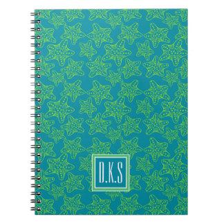 Starfish Crowd Pattern | Monogram Notebook