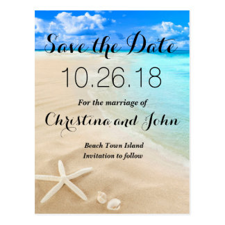 Starfish Destination Beach Wedding Save the Date Postcard