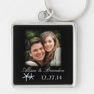 Starfish Destination Wedding Photo Key Ring Favor