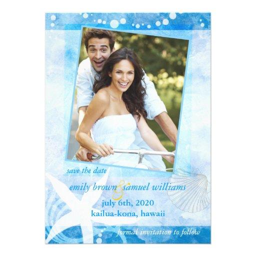 Starfish Garden Blue Beach Photo Wedding Invites