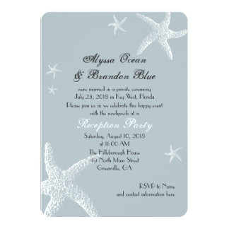 Starfish Grey Blue After the Wedding Celebration Card