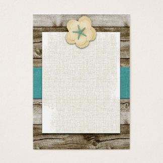 Starfish Hibiscus Vintage Wood Business Card
