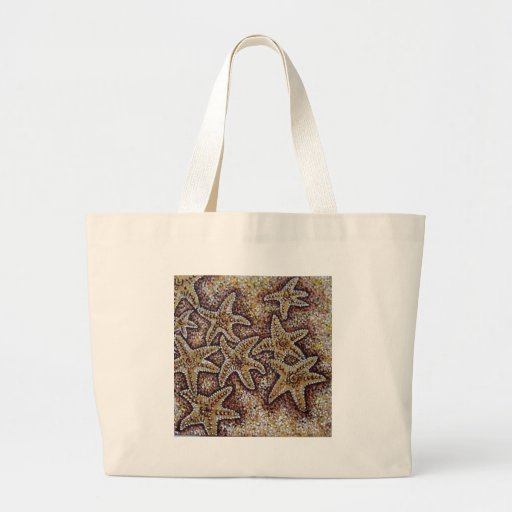 starfish in the sand canvas bags