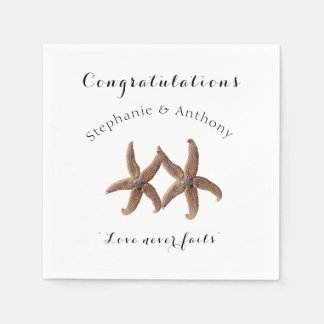 Starfish Married Couple Congratulations Napkins Disposable Napkins