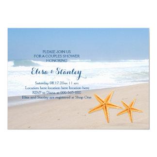 "Starfish modern beach wedding couples shower 5"" x 7"" invitation card"