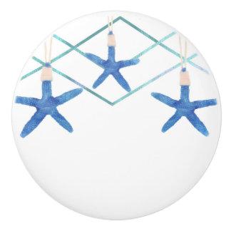 Starfish & Modern Lines Elegant Beach Custom Ceramic Knob