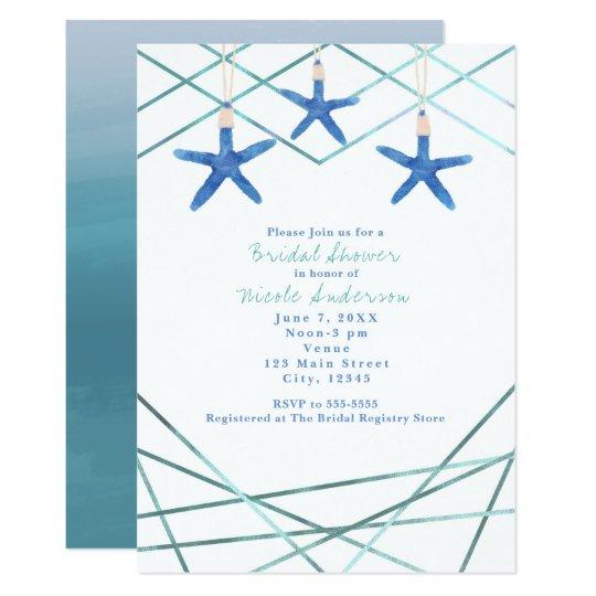 Starfish & Modern Lines Elegant Beach Invitations