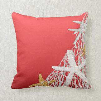 Starfish Netting Beach Wedding | coral Throw Pillow