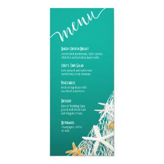 Starfish Netting Beach Wedding Menu | aqua Custom Invitations