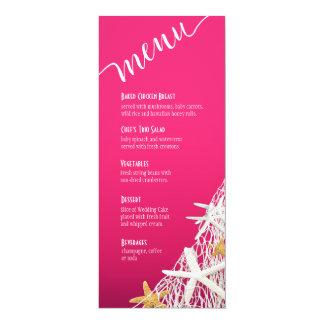 Starfish Netting Beach Wedding Menu | fuschia Invite