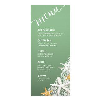 Starfish Netting Beach Wedding Menu | jade Personalized Invitation